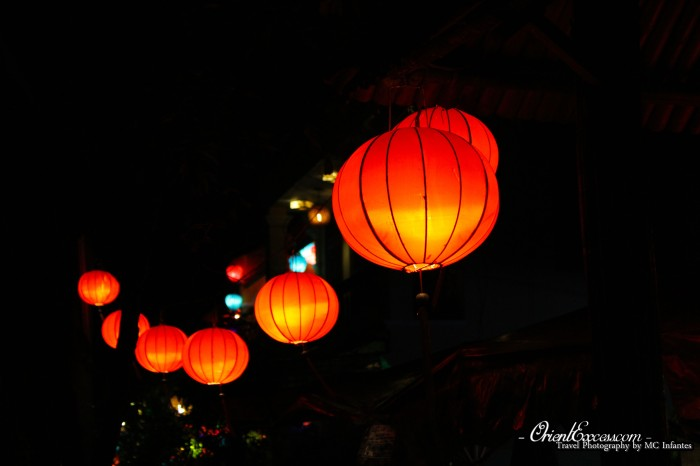 orange lanterns hoi an vietnam