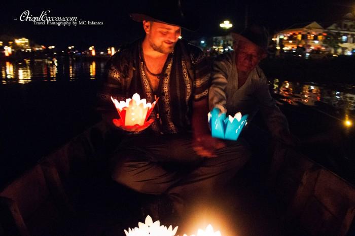 lantern on boat hoi an vietnam