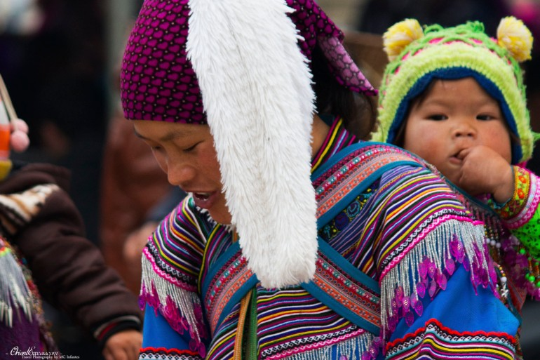 hmong lady market baby vietnam